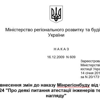 Про внесення змін до наказу Мінрегіонбуду від 09.06.2009 N 224 Про деякі питання атестації інженерів технічного нагляду